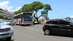 Tahiti Heavy traffic in Papeete  Stock Footage