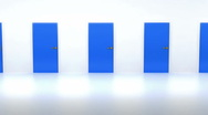Stock Video Footage of Right decision: many blue doors. Loopable