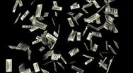 Hundred Dollar Bills Falling (Alpha) Stock Footage