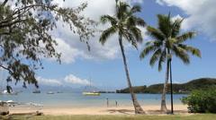 Tahiti beach with palms and people Stock Footage