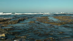 Mediterranean Sea Shore. Slow motion crane shot. Stock Footage