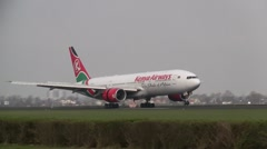 Plane , jet landing in Amsterdam, boeing 777 Kenya Airways - stock footage