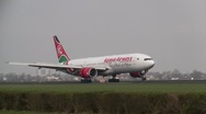 Stock Video Footage of Plane , jet landing in Amsterdam, boeing 777 Kenya Airways