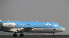 Plane , jet landing in Amsterdam, KLM fokker 70 Stock Footage
