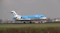 Plane , jet landing in Amsterdam KLM fokker 70 Stock Footage