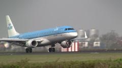Plane , jet landing at Schiphol. KLM boeing 737 - stock footage