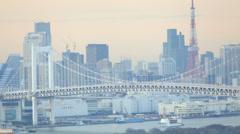 Rainbow Bridge and Tokyo Bay, Odaiba district, Tokyo, Japan, Asia.  T/Lapse Stock Footage