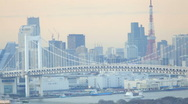 Stock Video Footage of Rainbow Bridge and Tokyo Bay, Odaiba district, Tokyo, Japan, Asia.  T/Lapse