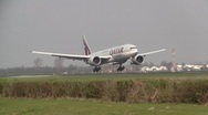 Stock Video Footage of Qatar Cargo plane / jet boeing 777 landing