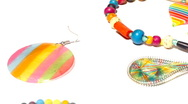 Stock Video Footage of Colorful Plastic Jewellery 07 pan right