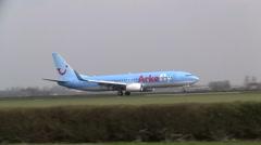 Arkefly boeing 737 landing Stock Footage