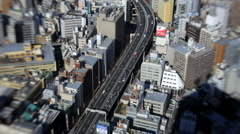 High elevation view of Tokyo city using Lensbaby, Japan Asia T/L Stock Footage