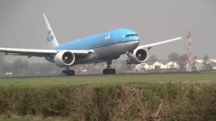 Plane , jet landing in Amsterdam, KLM boeing 777 - stock footage