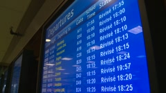 Airport arrivals and departures plasma screens, #5 tilt down Stock Footage