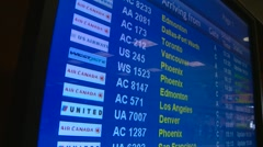 Airport arrivals and departures plasma screens, #7 tilt down Stock Footage
