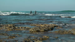 Mediterranean Sea Shore. Crane shot. Stock Footage