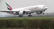 Stock Video Footage of Plane , jet landing in Amsterdam, Emirates boeing 777