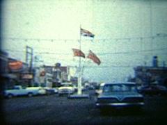 Vintage 8mm film, mile 0 Alaska highway, Stock Footage