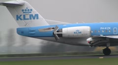 Plane , jet landing fokker 70 Thrust reverser - stock footage