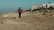 Stock Video Footage of Mediterranean Sea Shore. Pollution.Crane shot.