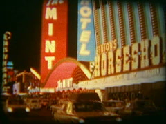 Vintage film 8mm, 1960s Las Vegas Strip at night 2nd Stock Footage