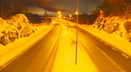 Highway on a foggy winter night Stock Footage