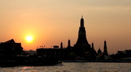 Stock Video Footage of Wat Arun, Sunset, Temple of the Dawn Bangkok Skyline Thailand, Chao Phraya River
