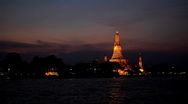 Wat Arun, By Night, Temple of the Dawn in Bangkok, Thailand, Chao Phraya River Stock Footage