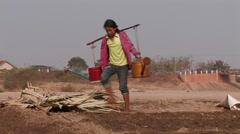 Cambodia:  Watering Market Garden Stock Footage