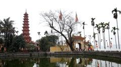 Vietnamese Buddhist Temple, Tran Quoc Pagoda in Hanoi, Vietnam, Religious Stock Footage