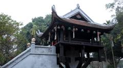 Vietnamese Buddhist Temple, The One Pillar Pagoda in Hanoi, Vietnam, Religious Stock Footage