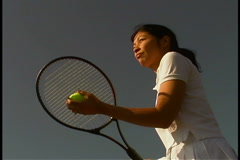 Woman Playing Tennis Stock Footage