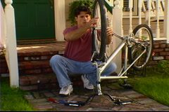 Fixing the Bike Stock Footage