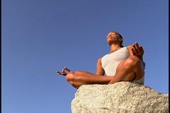 Woman meditating Stock Footage