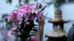 Incense Sticks Vietnamese Buddhist Temple, One Pillar Pagoda Hanoi, Vietnam Stock Footage