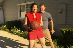 Couple Playing Basketball Stock Footage