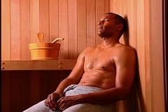 Man in Sauna Stock Footage