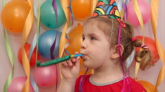 Little girl birthday party Stock Footage
