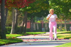 Mature Woman Race Walking - stock footage