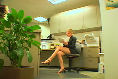 Businesswoman with good news Stock Footage