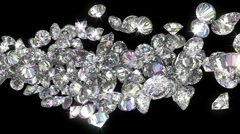 Loopable diamonds or gems flow with slow motion - stock footage