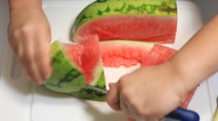 Slicing Watermelon Time Lapse (HD) Stock Footage