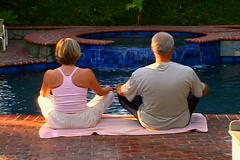 Poolside Yoga Stock Footage