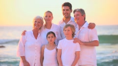 Grandparents, parents and children posing for a photo Stock Footage