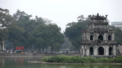 Turtle Tower ( Thap Rua ), Tortoise in Sword Lake (Hoan Kiem), Hanoi, Vietnam Stock Footage