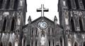 Saint Joseph Cathedral in Hanoi, Vietnam, Roman Catholic Cathedral, Religion Footage