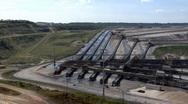 Stock Video Footage of Tagebau Aldenhoven: scenic pan of the huge lignite mine