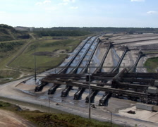 Tagebau Aldenhoven: scenic pan of the huge lignite mine Stock Footage