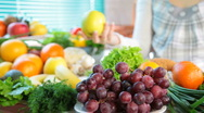 Fruits and vegetables in kitchen Stock Footage