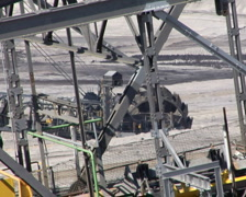 Tagebau Aldenhoven: bucket-wheel excavator in a lignite mine Stock Footage